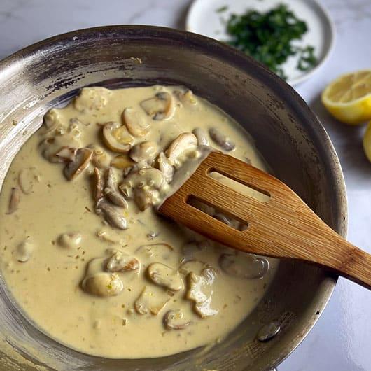 Creamy Mushroom Sauce in Pan