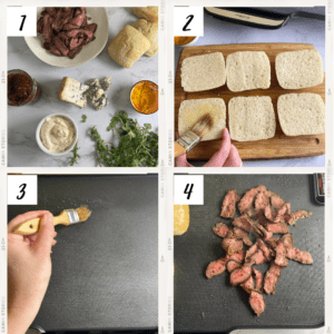 Steak Sliders with Blue Cheese Steps 1 - 4