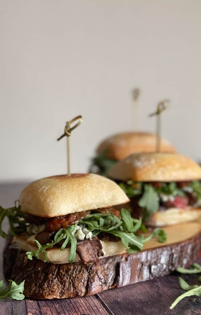 Steak Sliders with blue cheese