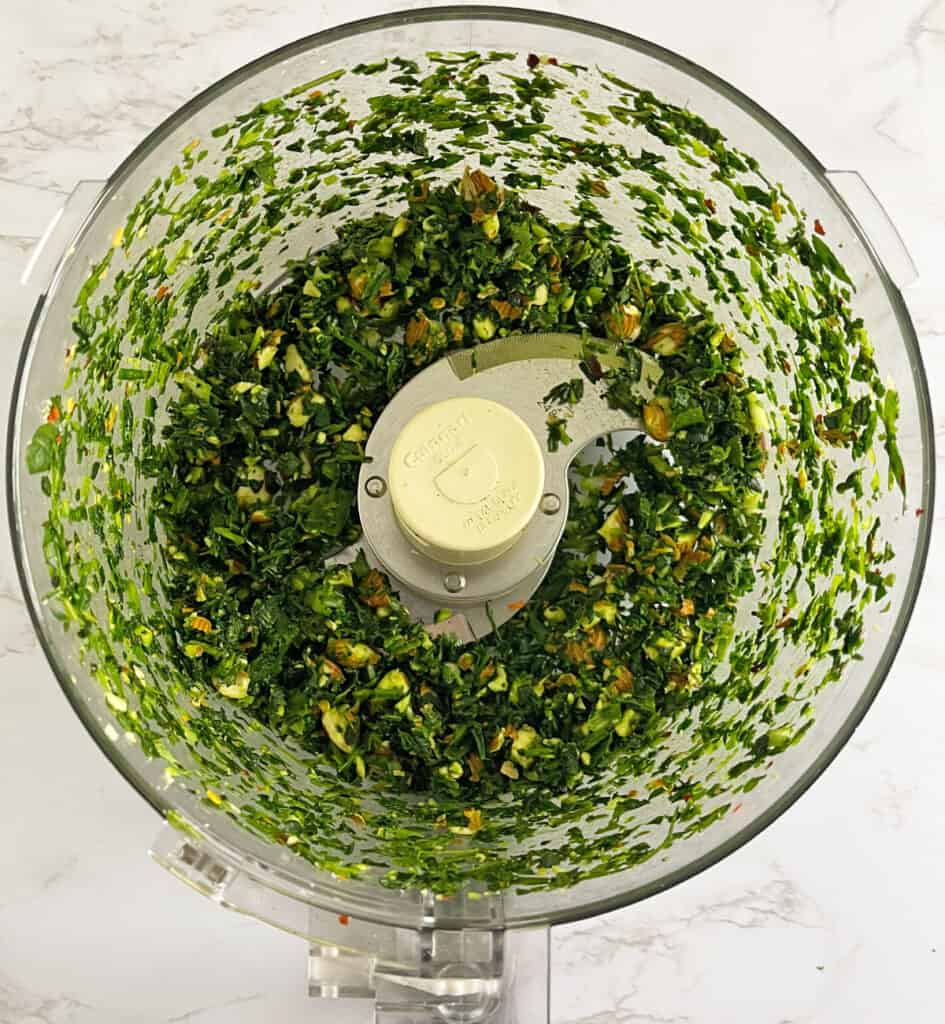 Arugula Chimichurri blended in food processor