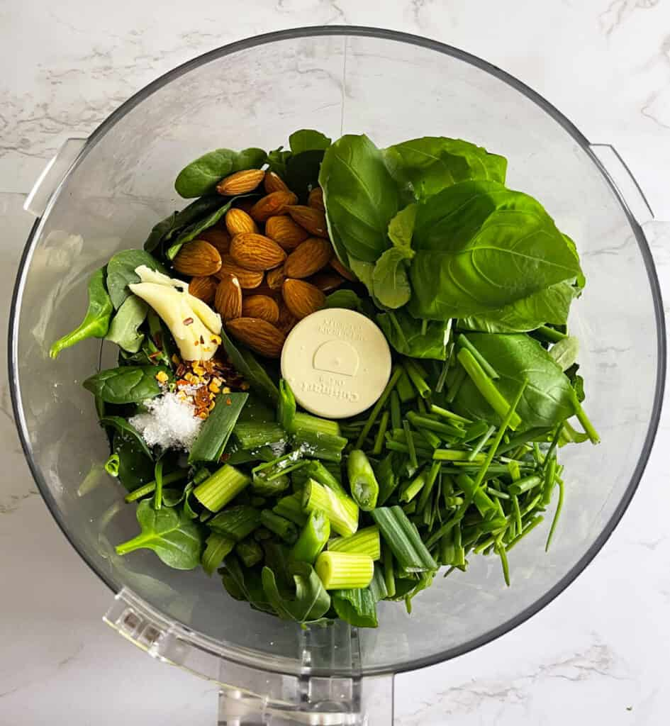 Arugula Chimichurri ingredients in food processor