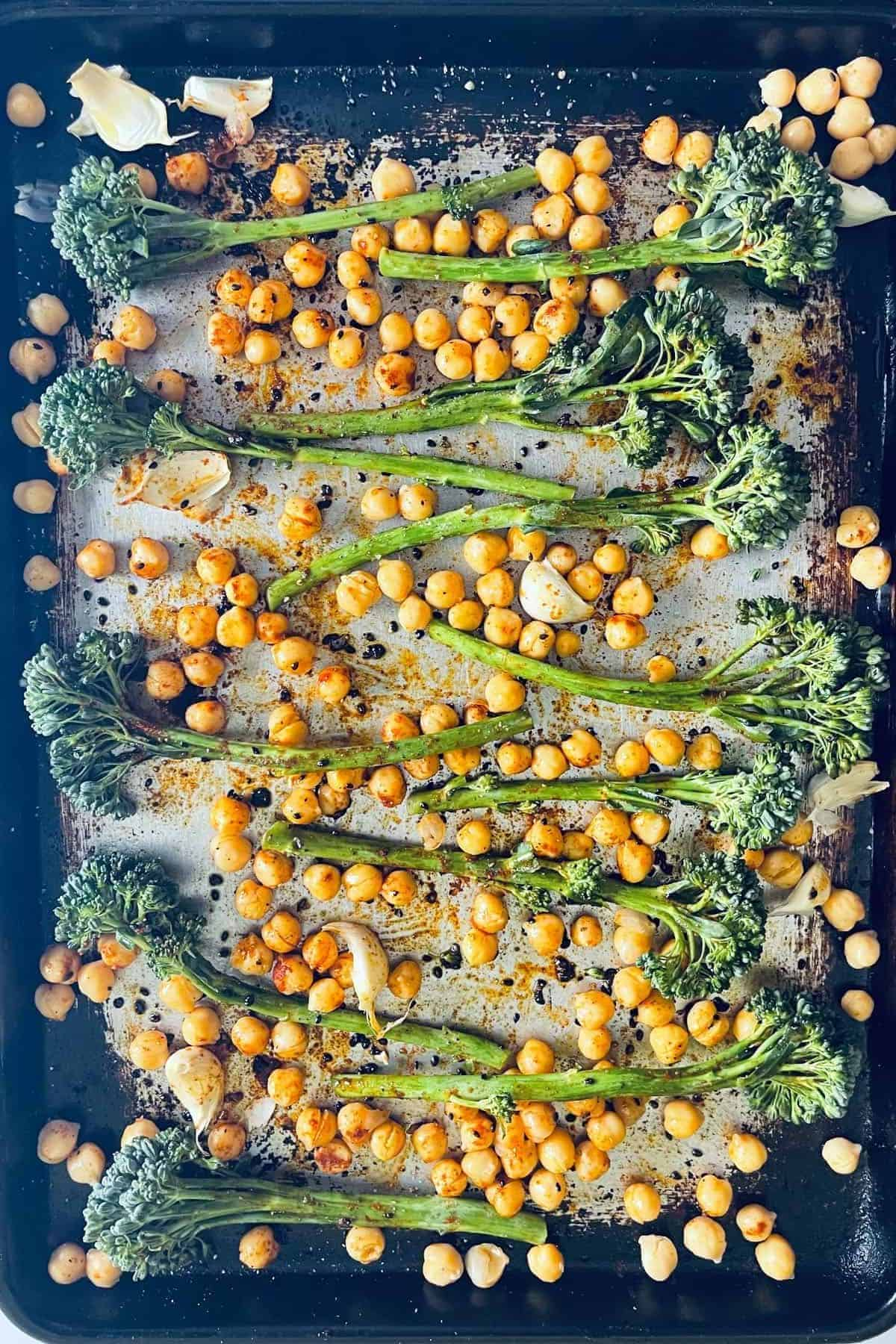 Broccolini and Chickpeas on Sheet pan